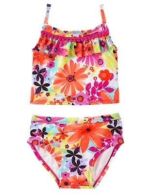 NWT Gymboree Girls Flower Swimsuit 2 PC Toddler 2T, 3T, 4T, 5T