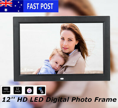 12'' LCD Screen HD1280P Digital Photo Frame Picture Alarm Clock MP4 Movie Player