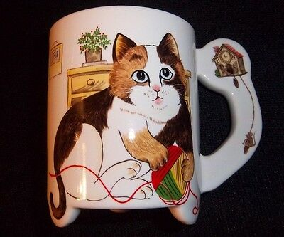 Cat Lover Mug Calico Footed Yarn Ball Kitten Mouse Kitty Brown White Blue Eyes