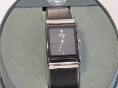 Men's NEW Citizen ECO-DRIVE Watch Dark Grey Dial Black Leather Band New In Box