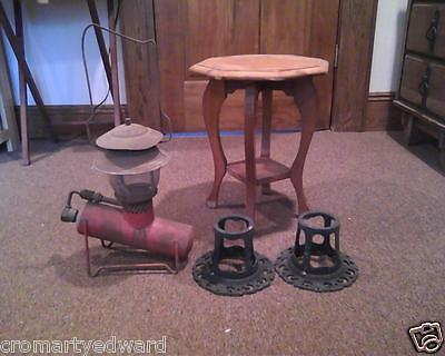Antique Lamp, Table, and Stands