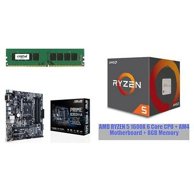 AMD Ryzen 5 1600X 6 Core CPU + AM4 Motherboard + 8GB Memory