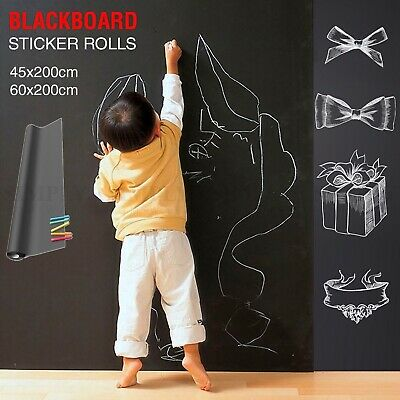 Blackboard Wall Sticker Decal Chalkboard Vinyl Labels Peel Removable DIY 5 Chalk
