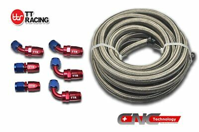 4 AN-4 Stainless Steel Braided Fuel Gas Line Hose 12FT 3.5M Fitting End Kit