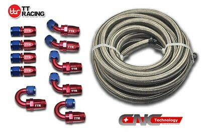 4 AN 6M 20FT Stainless Steel Braided Oil Fuel Line 10 Fittings Hose Adaptor Kit