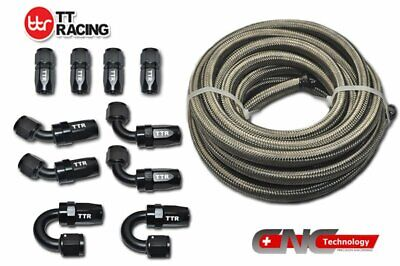 -4AN 6M 20FT Stainless Steel Braided Fuel Line Black Swivel 10 Fittings Hose Kit