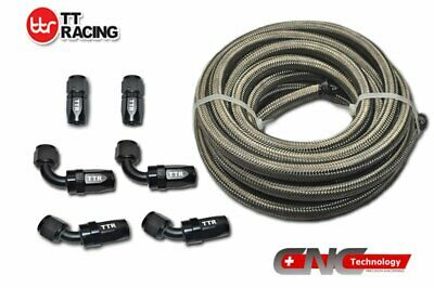 -4AN 3.5M 12FT Stainless Steel Braided Oil Fuel Line & Black Fitting Hose Kit