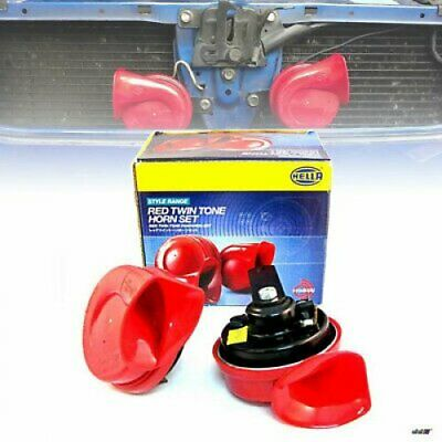 1 Pair Red Twin Tone Hella Horn Set 12V Ute 4x4 4WD SUV Truck Car Pickup