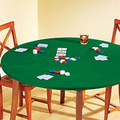 Fitted Round Elastic Edge Solid Green Felt Table Cover for Poker Puzzles Board