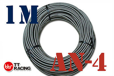 """1/4"""" STAINLESS STEEL BRAIDED 1000 PSI -4AN AN4 4-AN OIL FUEL LINE HOSE 1M Meter"""