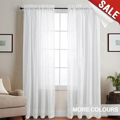 Linen Textured Sheer Window Curtains For Bedroom White Curtain Living Room