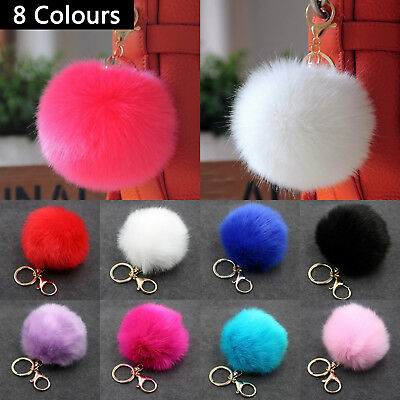Pompom Pendant Key Chain Charm Gift Faux Rabbit Fur Ball Keyring Ring Pom Pom