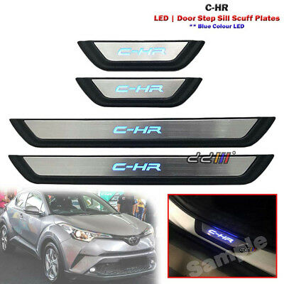 Set of LED Light Door Sill Scuff Plate Step Trim For Toyota C-HR Koba 2017-ON