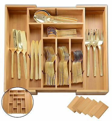 ADORN Expandable Bamboo 6 - 13 Compartment cutlery, Flatware, Utensils