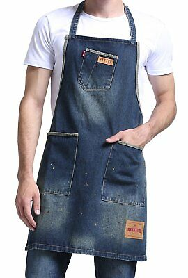 Vantoo Distress Denim Apron with 3 Pockets and Colorful Dots for Women Men -
