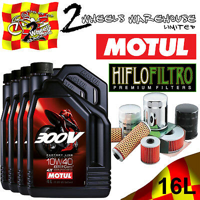 16L Motul 300V 10W40 Oil And Hiflo Hf128 Filter Fits Kawasaki Quad Sxs Listed