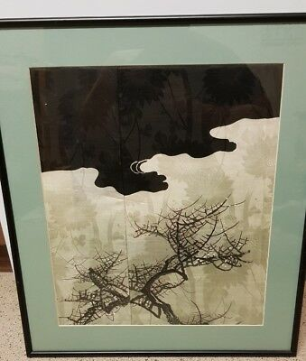 Antique Chinese painting on fabric Man Fong label verso
