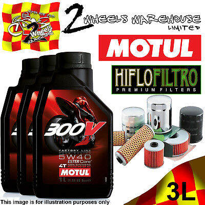 3L Motul 300V 5W40 Oil And Hiflo Hf128 Filter Fits Kawasaki Quad Sxs Atv Listed