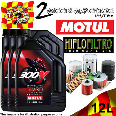 12L Motul 300V 5W30 Oil And Hiflo Hf128 Filter Fits Kawasaki Quad Sxs Listed