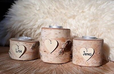 Personalized Heart Rustic Wooden Log Birch Wood Tea Light Candle Holder Wedding