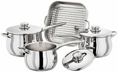 Stellar 1000 3 Piece Induction Deep Saucepan Set & Lids & Baking Tray Bakepan