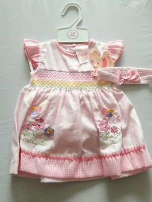 Baby Girls Dress & Knickers_pink & white_Rock a bye baby_6-9 months_Brand New