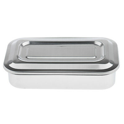 """2x 8"""" Stainless Steel Surgical Instrument Dental Tools Box Disinfection Tray"""