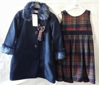 2fdc8b1debcf8 New Girls Winter Fur Coat Warm Dress Jacket Navy Formal Tartan 2Pc Set 2 to  8