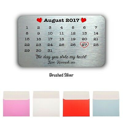 Personalised Date Keepsake-Mini Card Wallet/Purse Gift Card-Valentines Gift