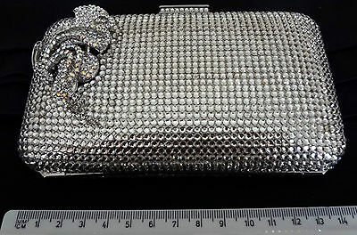 VINTAGE CRYSTAL HAND BAG CLUTCH WITH CRYSTALS AND INTRICATE DECORATIVE <s9mgul