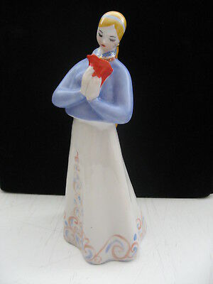 Russian girl with red flower Tale Antique USSR russian porcelain figurine 7405e