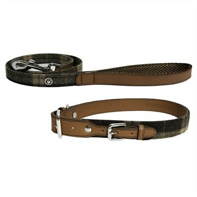 Rosewood Dog Tweed Check Collar / Lead Designer Luxury Soft Leather & Suedette