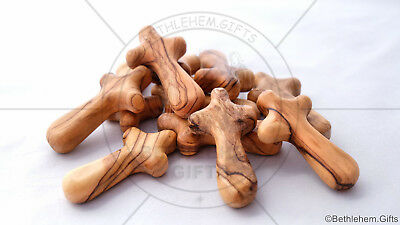 50 Comfort Crosses Small Genuine Olive Wood Holy Land Olive Wood Palm Cross