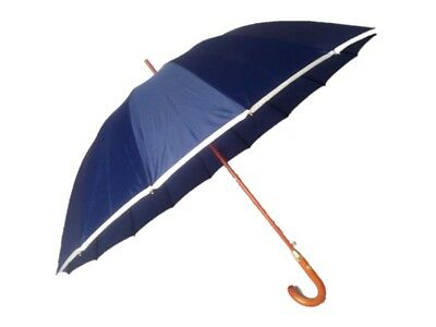 EX Sample - 16 Panel Golf Umbrella with Wooden Shaft & Crook Handle - Navy Blue