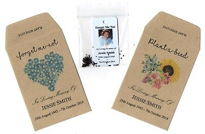 25 X Personalised FORGET-ME-NOT Seeds Funeral Condolence Memorial, Photo & Seeds