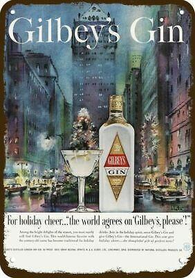 1959 GILBEY'S GIN Vintage Look REPLICA METAL SIGN - 1950's CHRISTMAS IN THE CITY