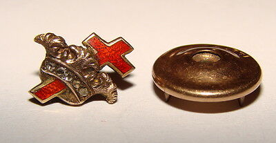 Vintage Knights Templar Masonic 14K Gold Red Guilloche Cross Lapel Pin Diamonds