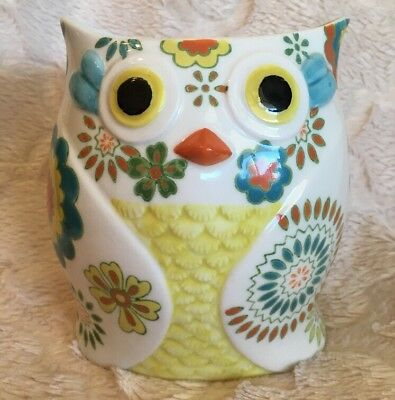 Pier One Imports Owl Vase or Utensil Holder for Kitchen Bright Colorful Floral