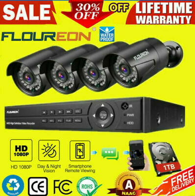FLOUREON 8CH 1080N AHD DVR 4X Outdoor 1500TVL 1.0MP Camera Security Cloud System