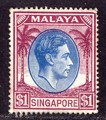 SINGAPORE #18a $1 VIOLET BROWN & ULTRA, 1949 Wmk.4, F, MINT LH