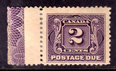 CANADA POSTAGE DUE #J2a 2c VIOLET, 1924 TYPE-D LATHEWORK on THIN PAPER, HINGED