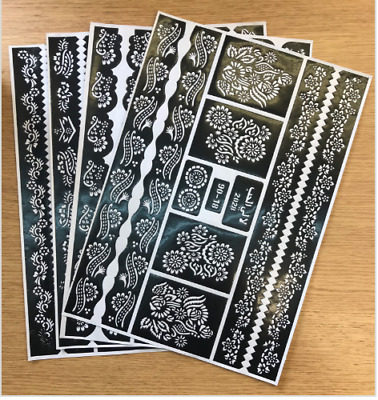 Henna Stencil Mehndi Stencils Arabic/Indian Style Body Art, set of 4 sheets