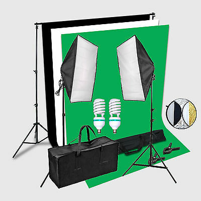 Complete Kit 2X150W Softbox Portraint Professional Photo Studio Continuous Light