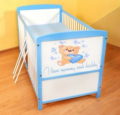 Wooden Baby Cot Bed ✔ Converts to Junior Bed ✔ I love Mummy and Daddy