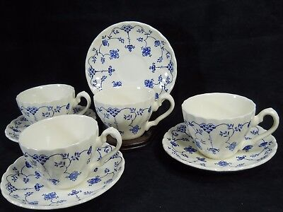 Myott Finlandia Cups and Saucers ~Set of 4 ~Blue and White