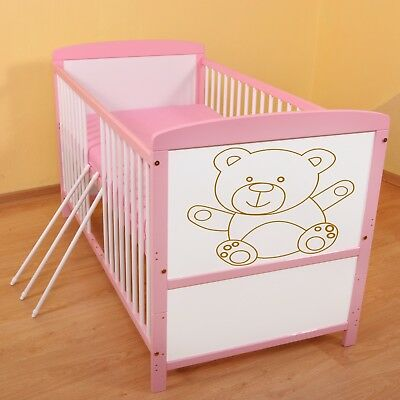 Wooden Baby Cot Bed ✔Converts to Junior Bed size 140x70