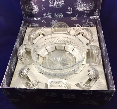 St Louis Crystal dessert or punch set, bowl and eight glass cups, original box