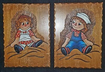 Raggedy ann and Andy vintage wood plaques