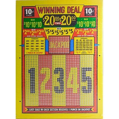 """Vintage """"WINNING DEAL"""" 10 Cent Punch Board — UNPUNCHED $20 Jackpot LARGE — MINT"""