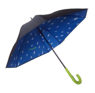 Ex-Sample- Square Double Canopy Walking Umbrella Black Canopy & Rain Drops Inner